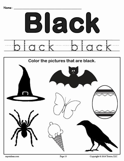 Color Black Worksheets for Preschoolers Lovely Color Black Worksheet