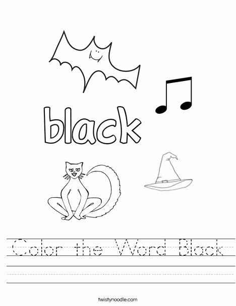 Color Black Worksheets for Preschoolers New Coloring Pages Color the Wordack Worksheet Twisty