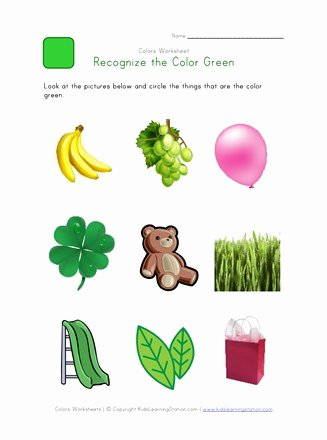 Color Green Worksheets for Preschoolers Free Recognize the Color Green Colors Worksheet for Kids