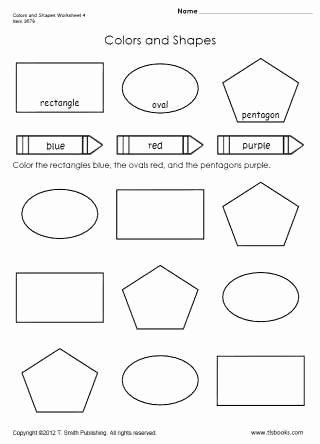 Color Recognition Worksheets for Preschoolers Printable Colors and Shapes Worksheet 4