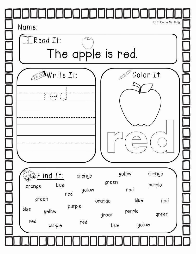 Color Red Worksheets for Preschoolers Best Of Mrs Kelly S Klass Crazy for Colors