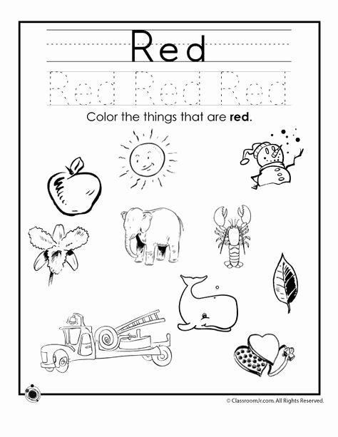 Color Red Worksheets for Preschoolers Free Learning Colors Worksheets for Preschoolers Color Red