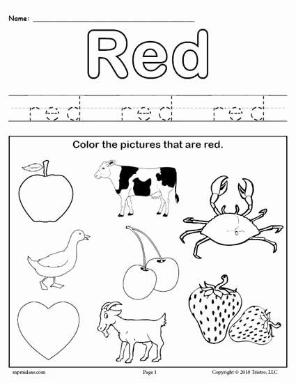 Color Red Worksheets for Preschoolers Inspirational Color Red Worksheet
