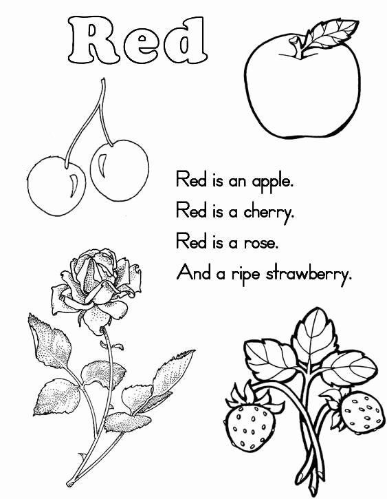 Color Red Worksheets for Preschoolers New Color Red Coloring Pages