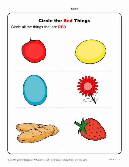 Color Red Worksheets for Preschoolers top Circle the Red Things