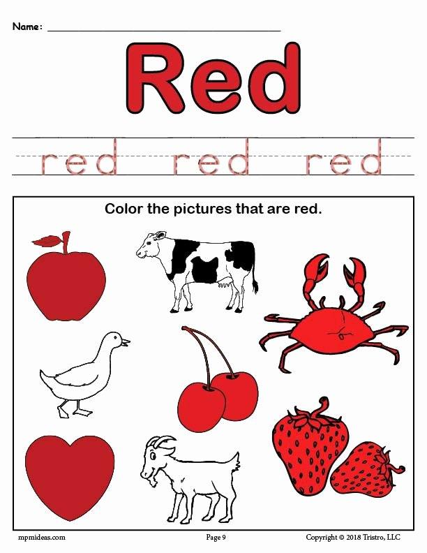 Color Red Worksheets for Preschoolers top Color Red Worksheet