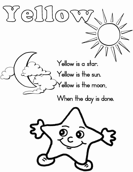 Color Yellow Worksheets for Preschoolers Free A to Z Kids Stuff
