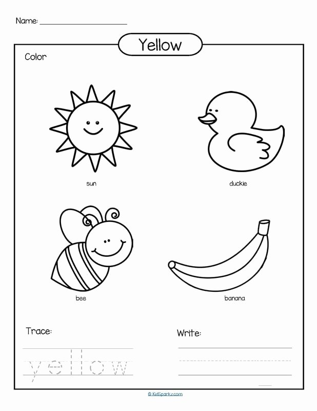 Color Yellow Worksheets for Preschoolers Free Color Yellow Printable Color Trace and Write