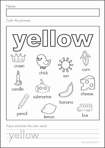 Color Yellow Worksheets for Preschoolers Fresh Yellow