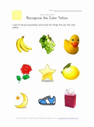 Color Yellow Worksheets for Preschoolers Kids Recognize the Color Yellow Colors Worksheet for Kids