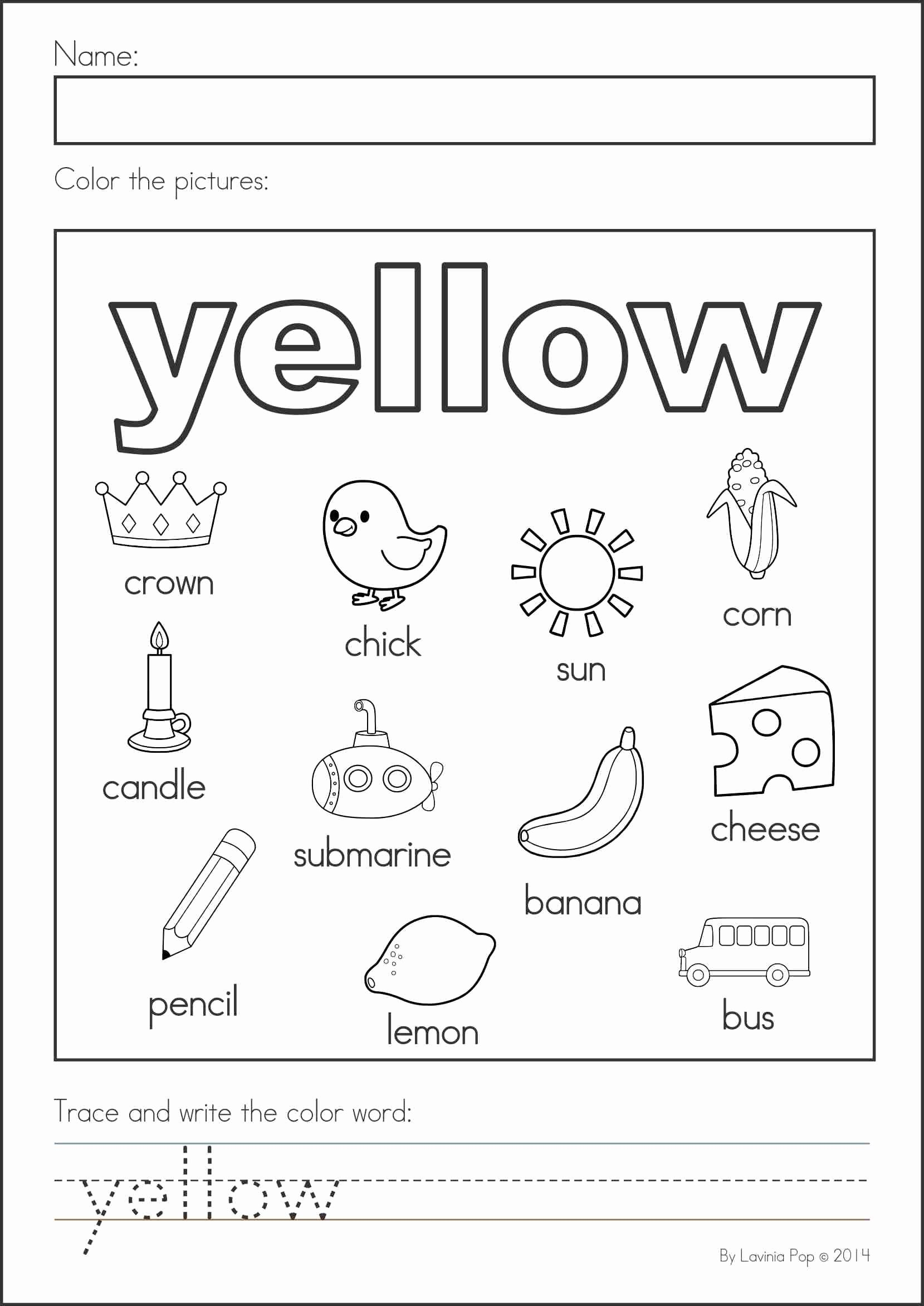 Color Yellow Worksheets for Preschoolers New Back to School Math & Literacy Worksheets and Activities No
