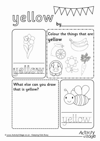 Color Yellow Worksheets for Preschoolers Printable Colour Worksheets