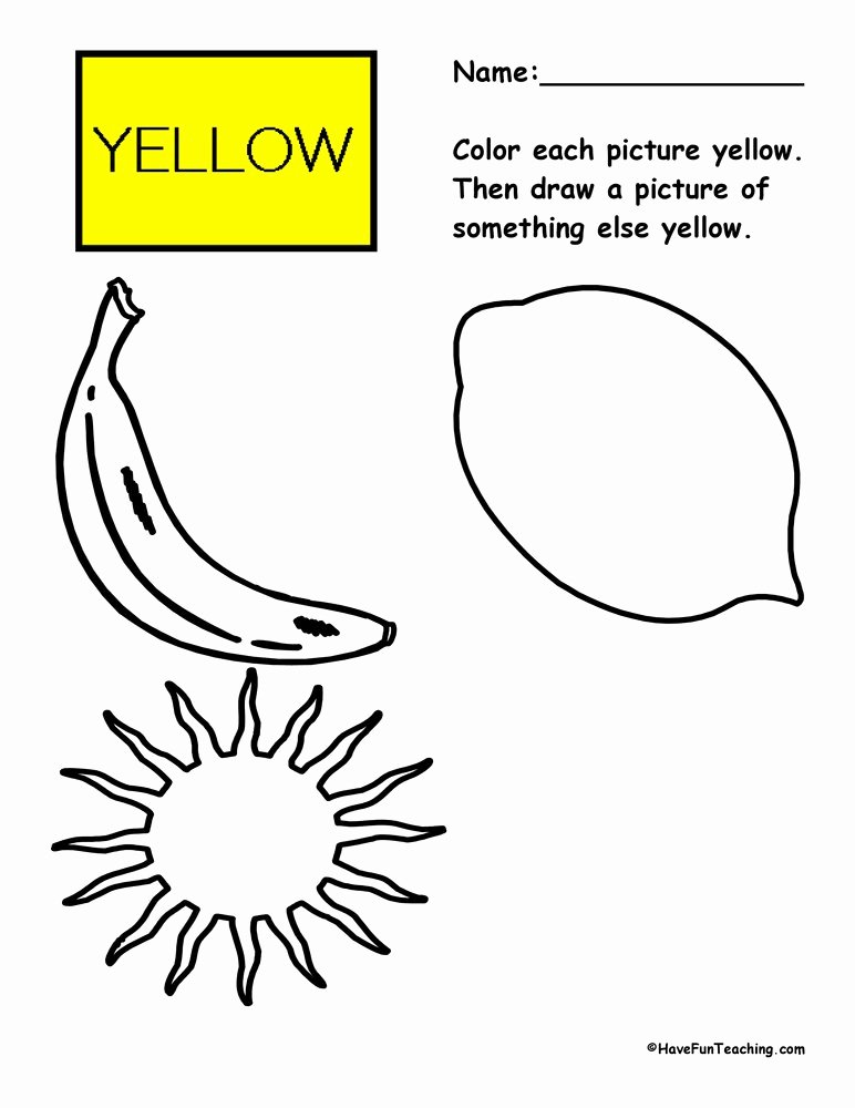 Color Yellow Worksheets for Preschoolers top Coloring Yellow Worksheet