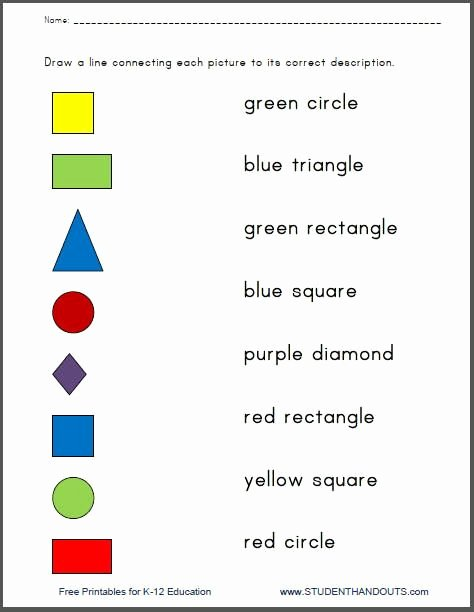 Colors and Shapes Worksheets for Preschoolers Kids Colors and Shapes Printable Matching Quiz Worksheets for