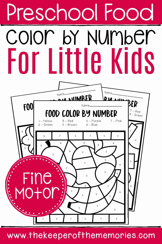Colors Worksheets for Preschoolers Free Printables Ideas Free Printable Color by Number Food Preschool Worksheets