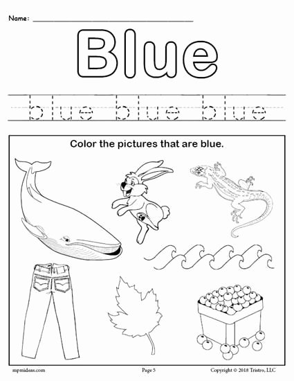 Colors Worksheets for Preschoolers Free Printables top Color Blue Worksheet