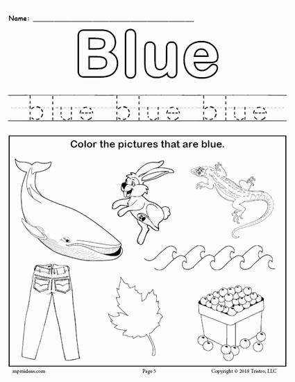 Colors Worksheets for Preschoolers Free Printables top Color Blue Worksheet