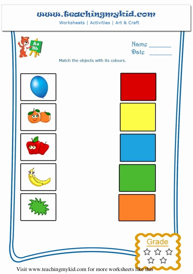 Colour Matching Worksheets for Preschoolers Ideas Printable Worksheet General Knowledge Match the Objects with