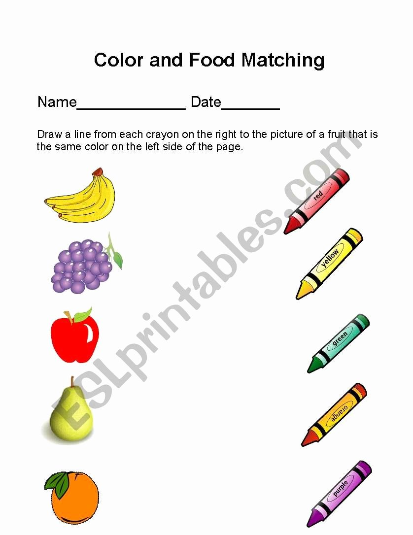 Colour Matching Worksheets for Preschoolers Inspirational Color and Food Matching Esl Worksheet by Yulibeca5