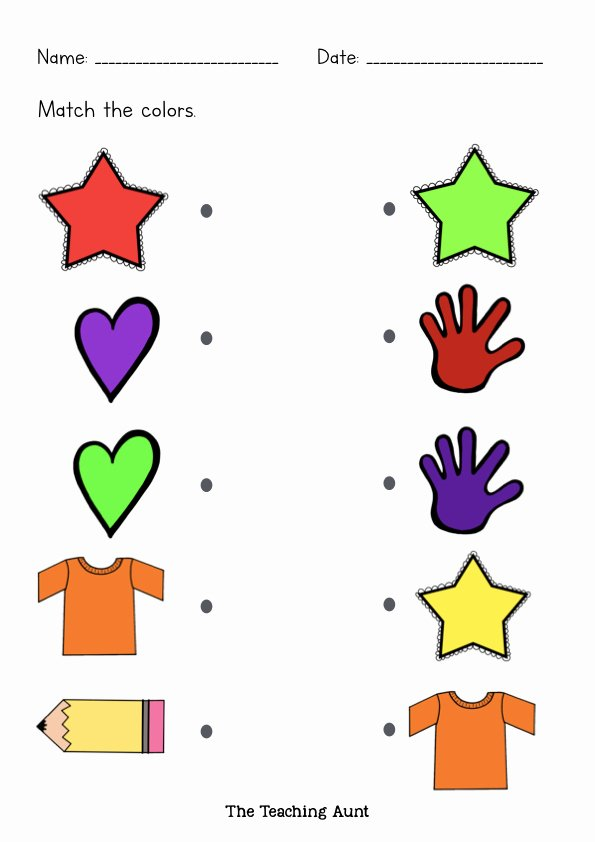 Colour Matching Worksheets for Preschoolers Printable Free Matching Colors Worksheets the Teaching Aunt