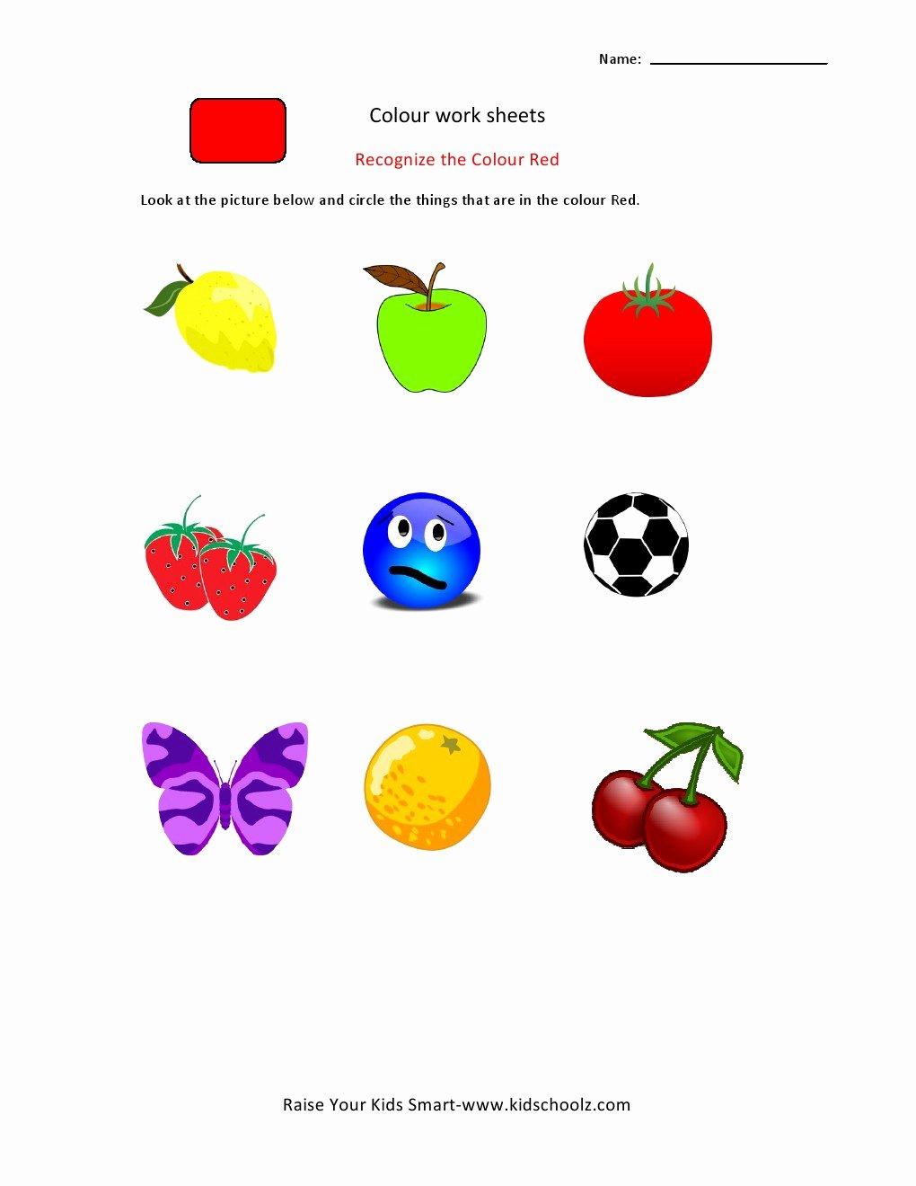 Colour Recognition Worksheets for Preschoolers Kids Colour Recognition Worksheets Kidschoolz