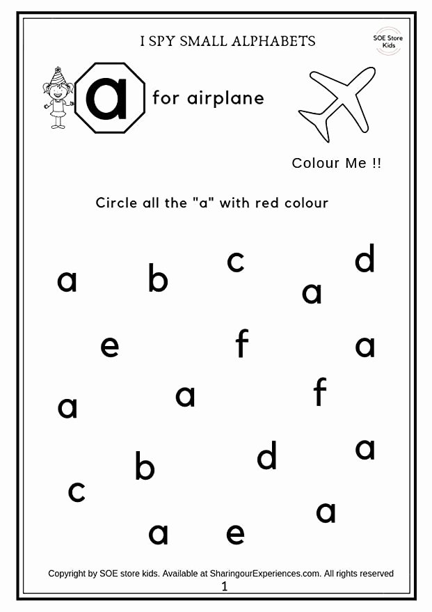 Colour Recognition Worksheets for Preschoolers Kids soe Store Kids Preschool Alphabets Activity Worksheets 26 Pages Age 2 4 Years