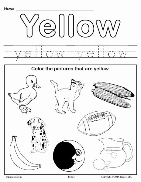 Colour Recognition Worksheets for Preschoolers Lovely Color Yellow Worksheet