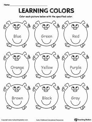 Colour Recognition Worksheets for Preschoolers top Coloring Pages Learning Basic Colors Myteachingstation