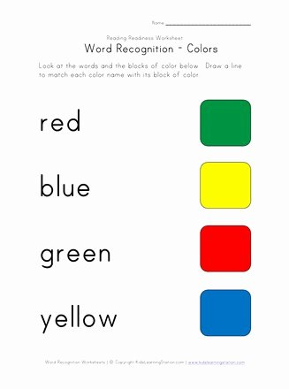 Colour Recognition Worksheets for Preschoolers top Word Recognition Worksheet Colors