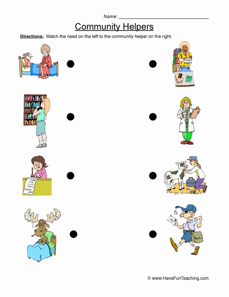 Community Helpers Worksheets for Preschoolers Best Of Munity Helper Matching Worksheet