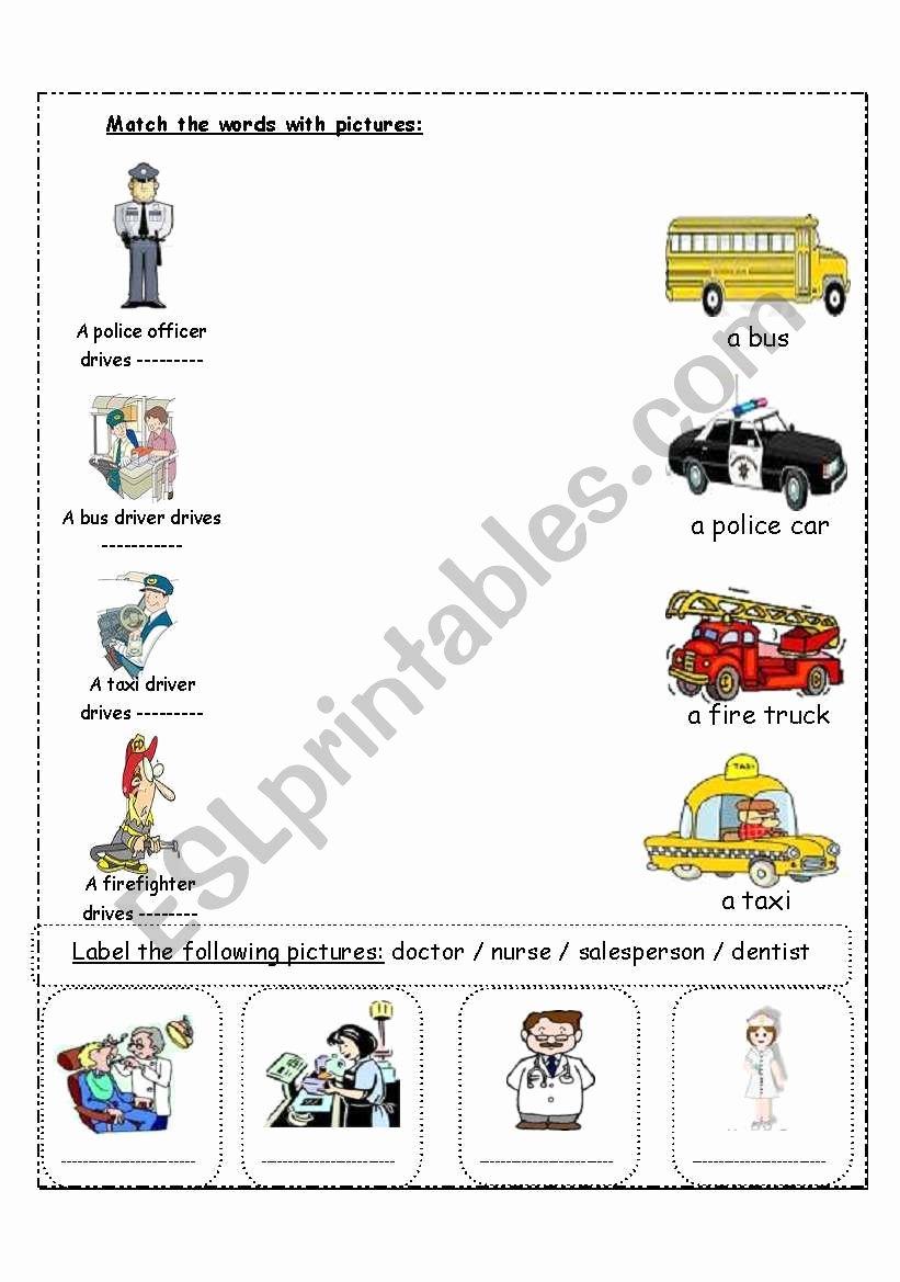 Community Helpers Worksheets for Preschoolers Free Munity Helpers Esl Worksheet by Kanary578