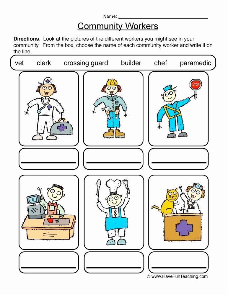 Community Helpers Worksheets for Preschoolers Lovely Identifying Munity Workers Worksheet