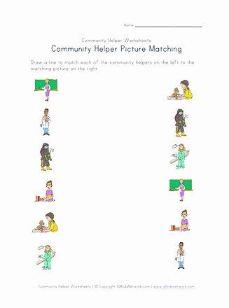 Community Helpers Worksheets for Preschoolers New Munity Helpers Picture Matching Worksheet