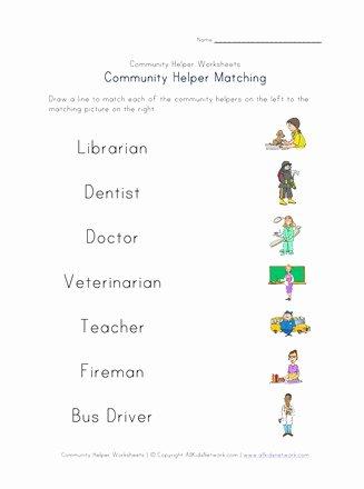 Community Helpers Worksheets for Preschoolers top Munity Helpers Matching Worksheet
