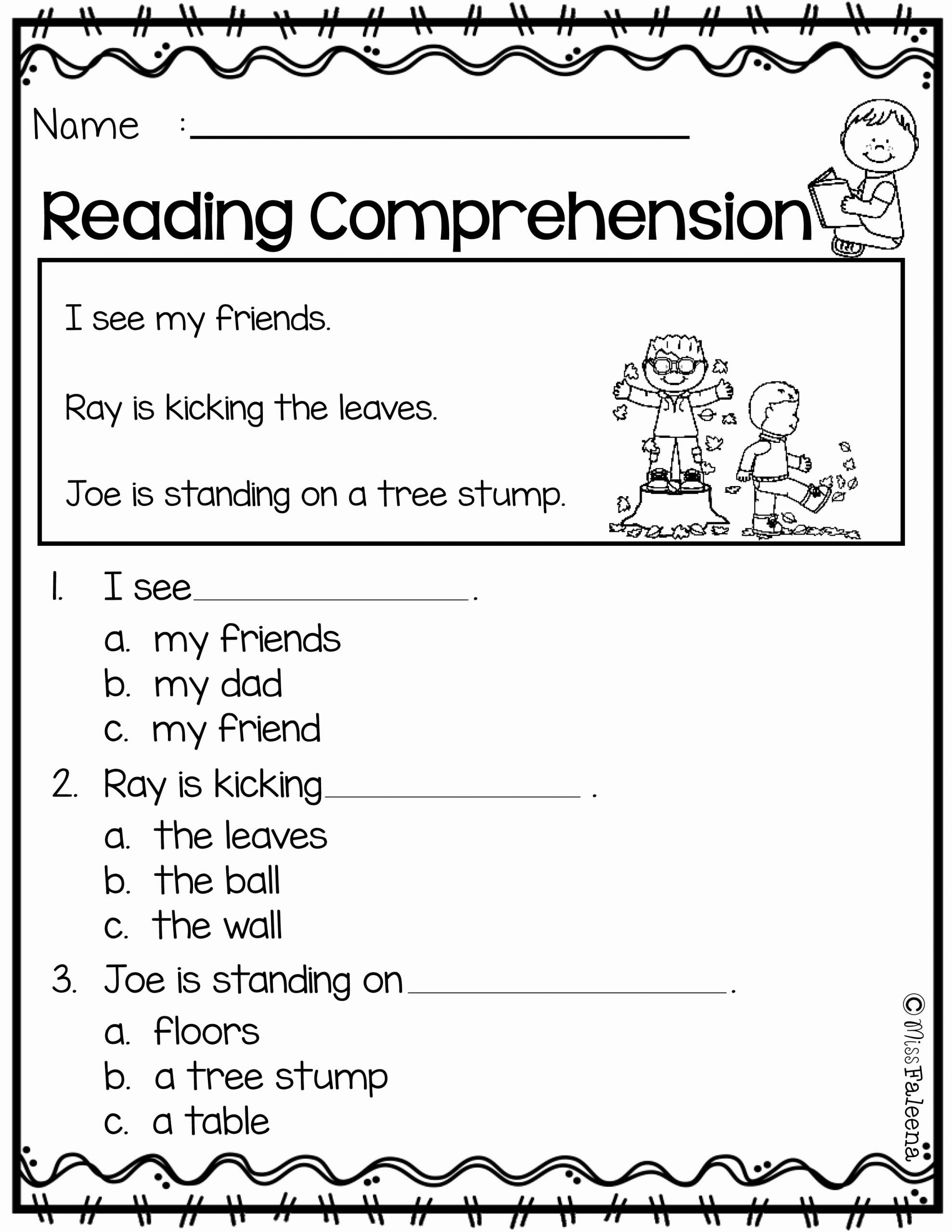 Comprehension Worksheets for Preschoolers New Free Reading Prehension
