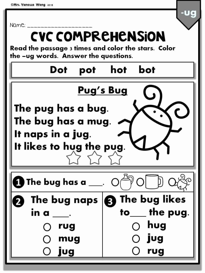 Comprehension Worksheets for Preschoolers Printable Phonics Worksheets Cvc Prehension Readers Kindergarten