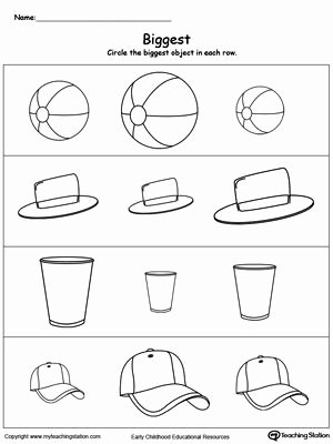 Concept Worksheets for Preschoolers Ideas Biggest Worksheet Identify the Biggest Object