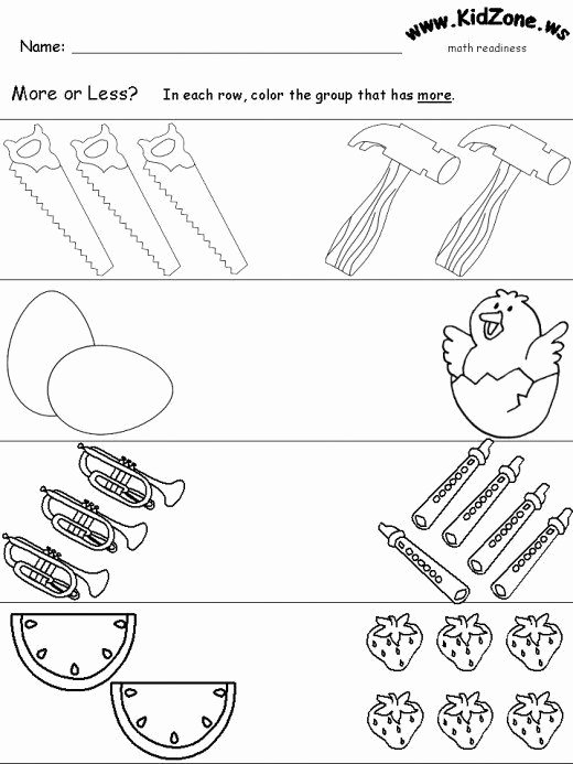 Concept Worksheets for Preschoolers Kids How to Teach More and Less