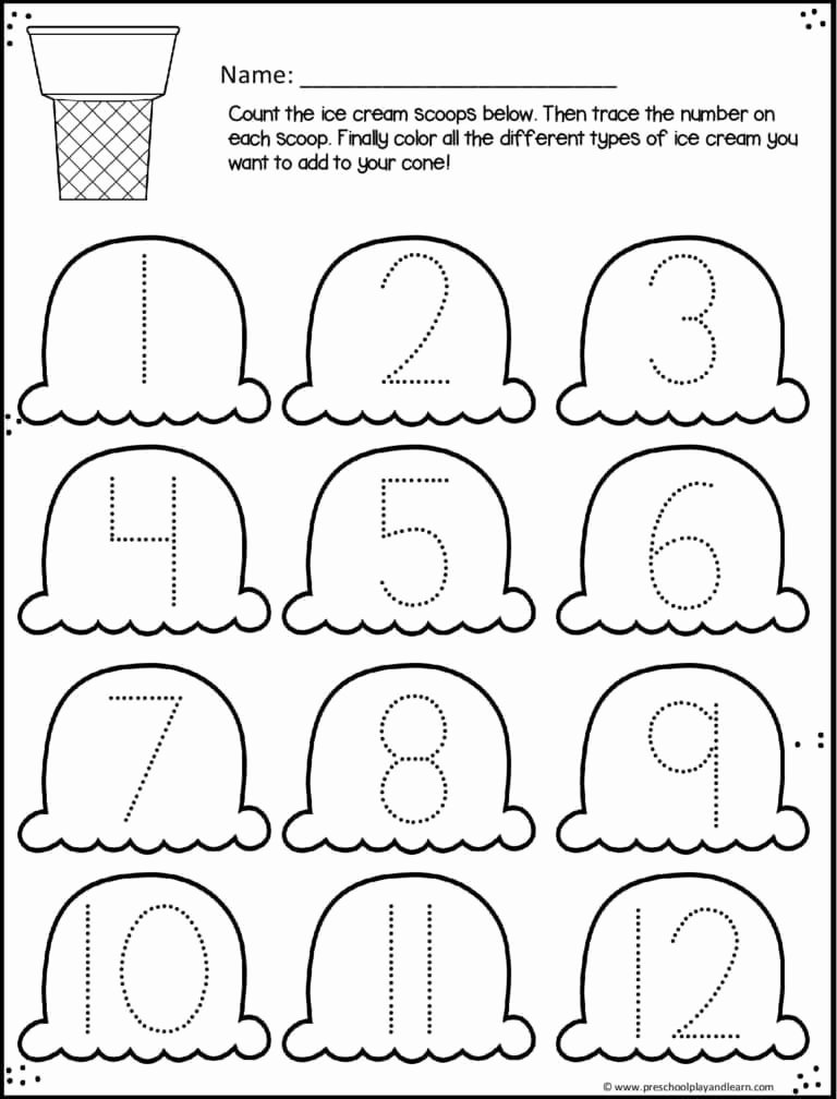 Cone Worksheets for Preschoolers Free Ice Cream Cone Trace Numbers 1 12 Summer Worksheets for