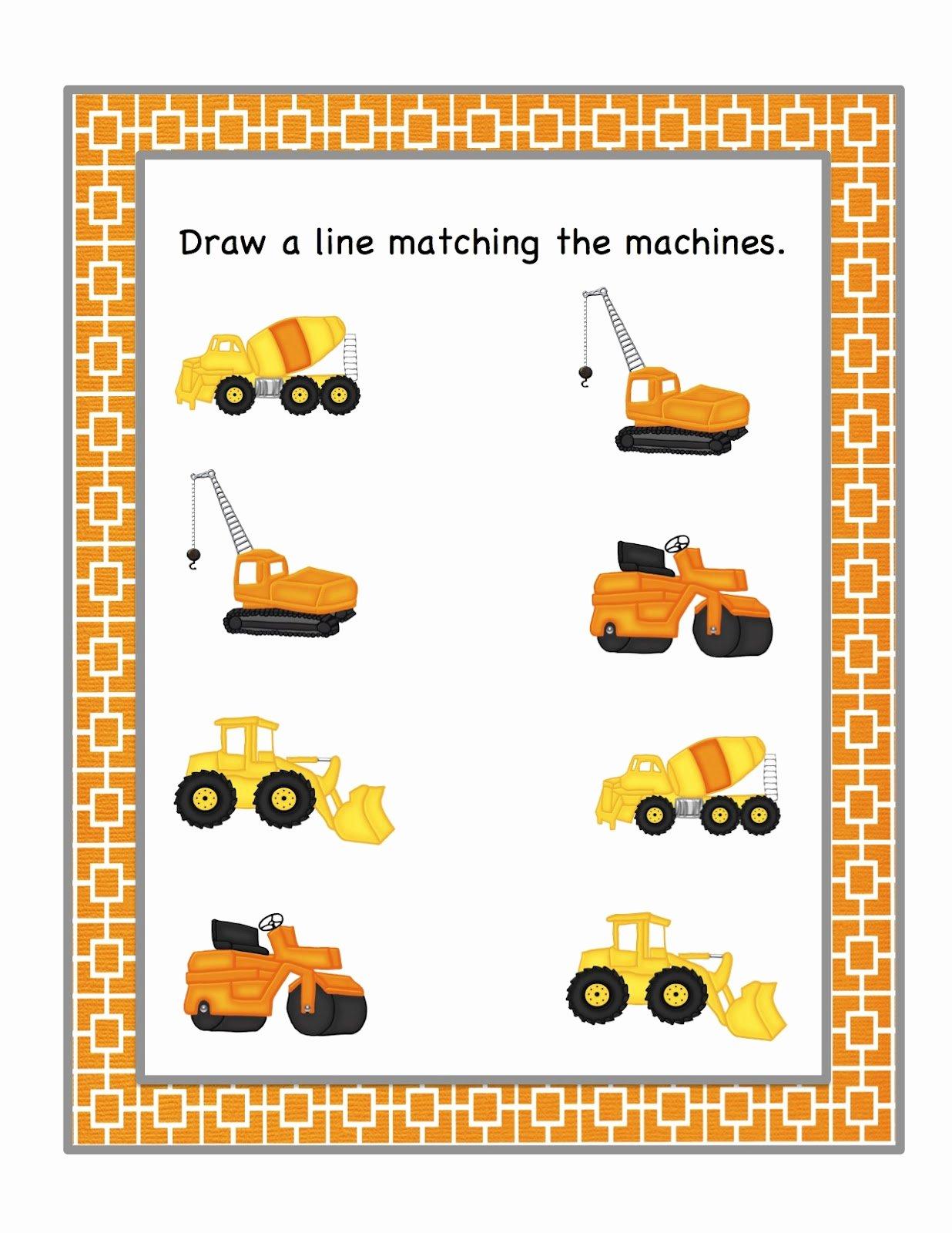 Construction Worksheets for Preschoolers Printable Preschool Printables Construction Machines Printable