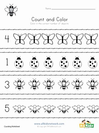 Counting Bugs Worksheets for Preschoolers Free Bug Count and Color Worksheet