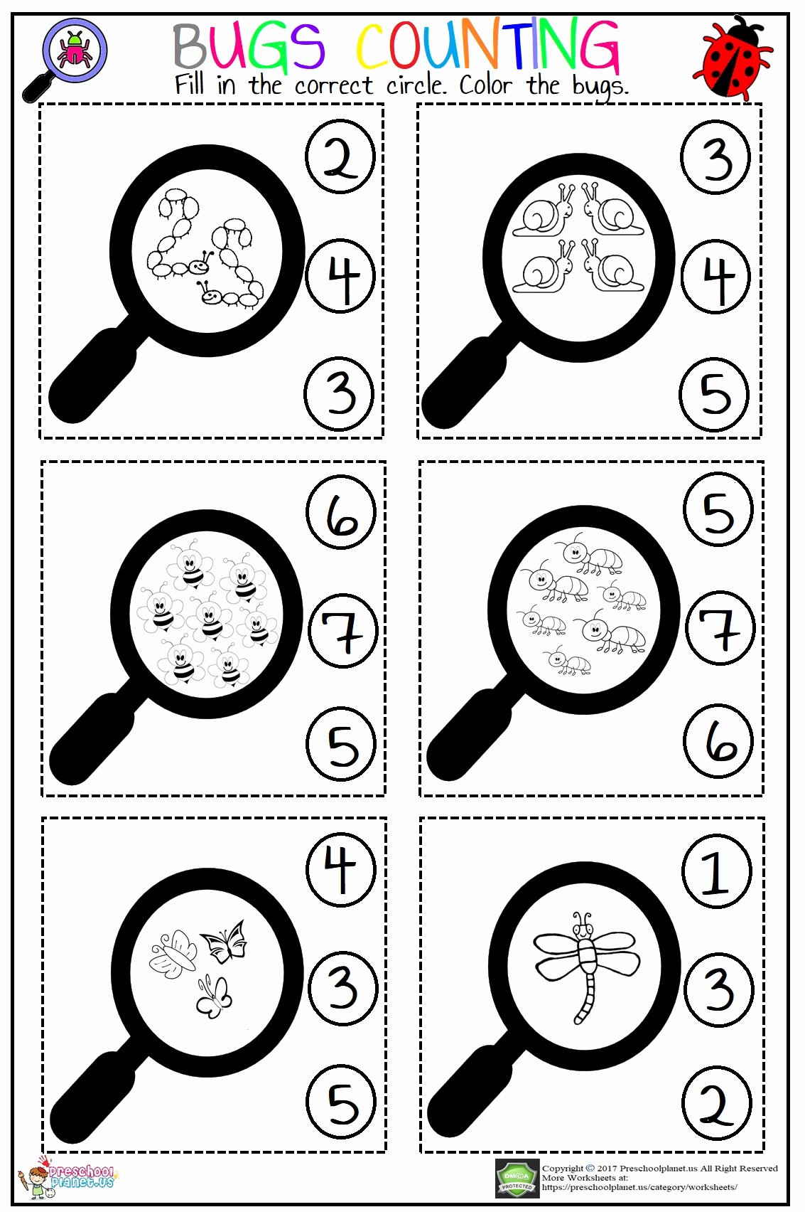 Counting Bugs Worksheets for Preschoolers Free Bugs Counting Worksheet – Preschoolplanet