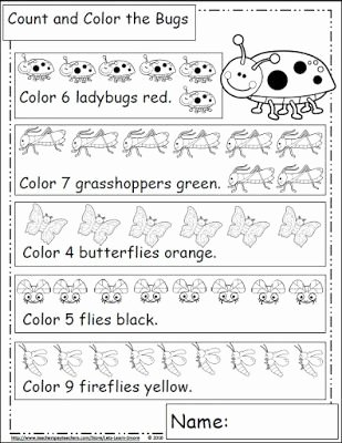 Counting Bugs Worksheets for Preschoolers Kids Bugs and Insects