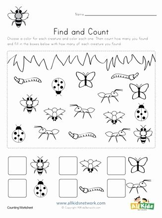 Counting Bugs Worksheets for Preschoolers top Bug Find and Count Worksheets All Kids Network