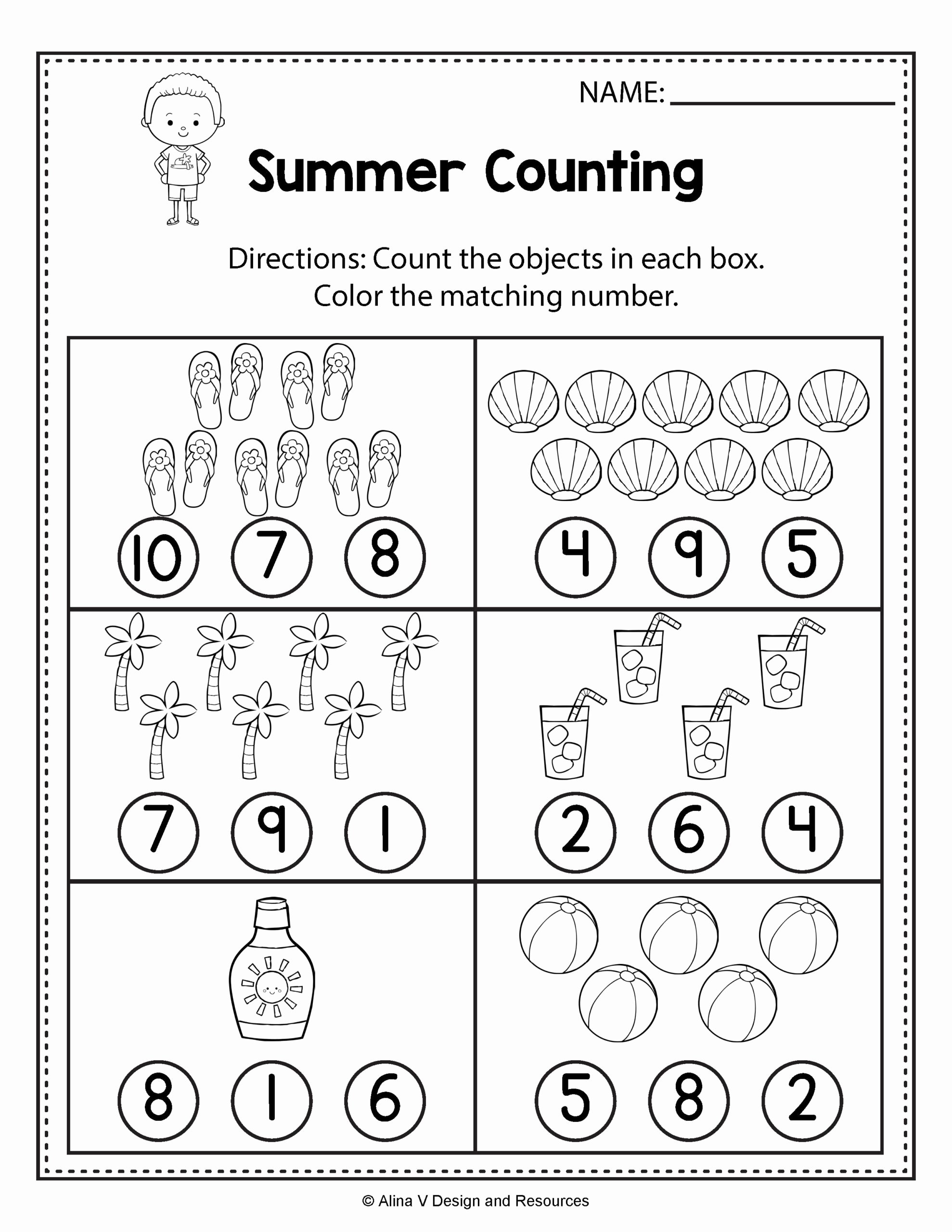 Counting Worksheets for Preschoolers Free Counting Worksheets Summer Math and Activities for Preschool