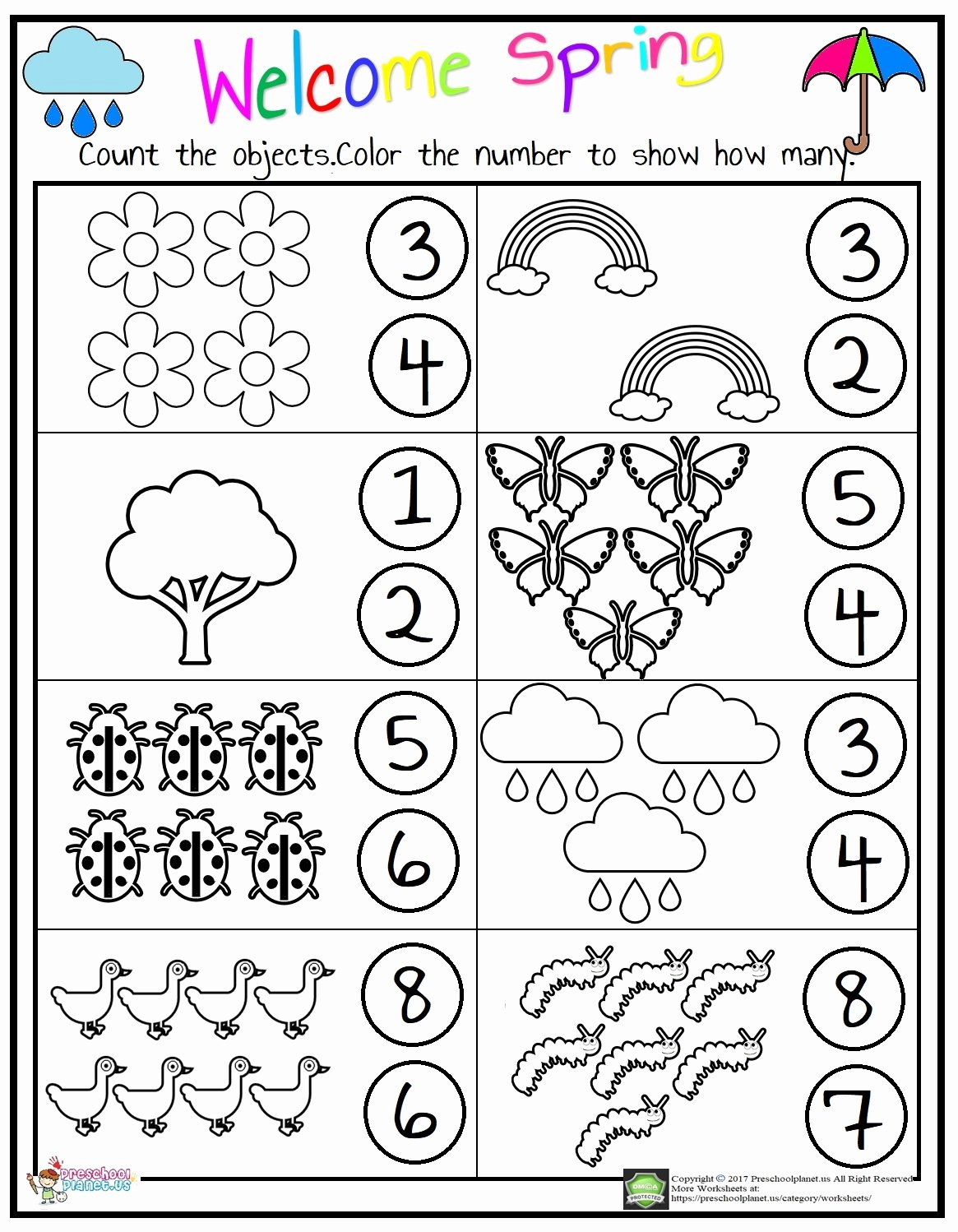 Counting Worksheets for Preschoolers Inspirational Counting Worksheet – Preschoolplanet