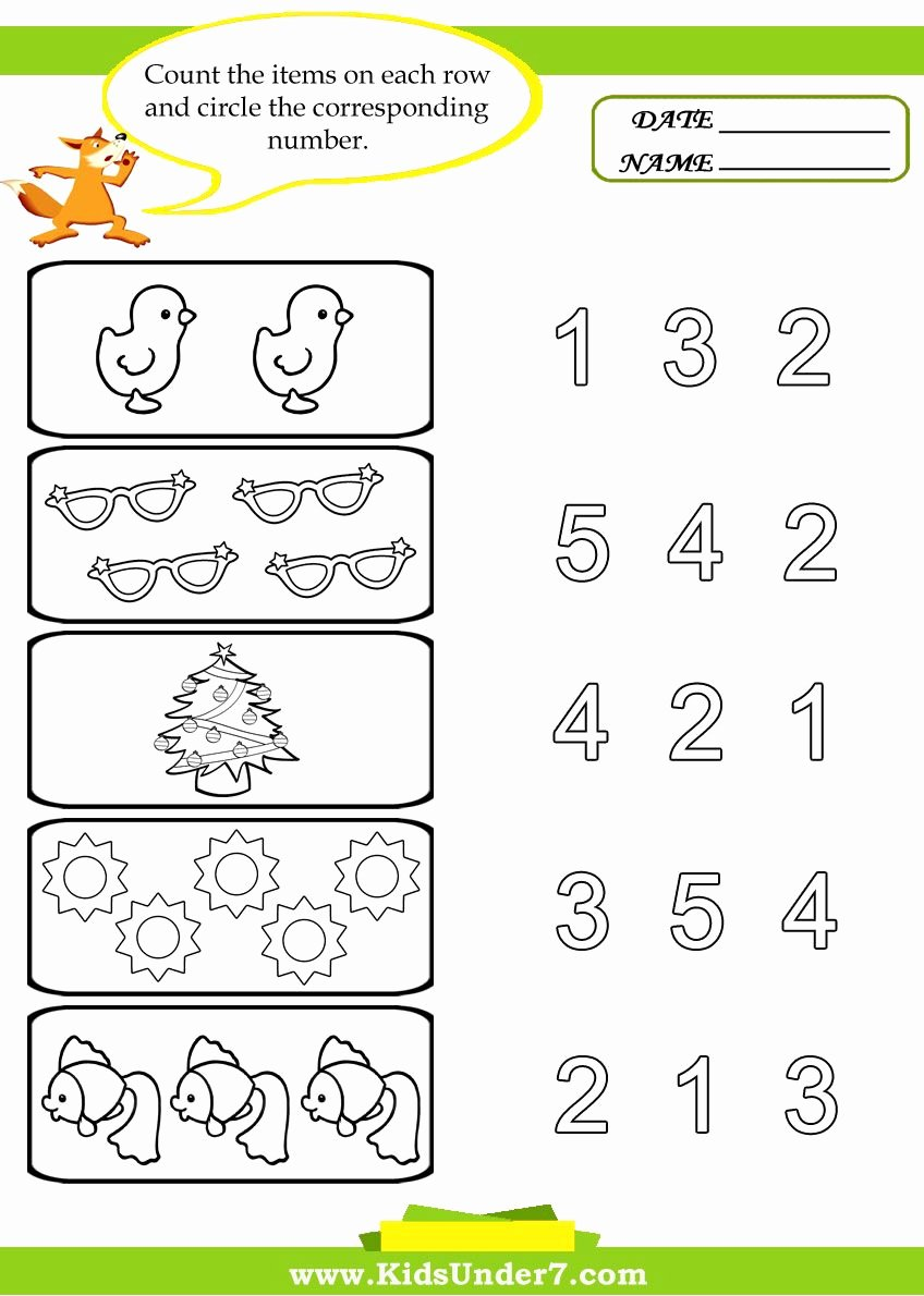 Counting Worksheets for Preschoolers Printable Kids Under 7 Preschool Counting Printables