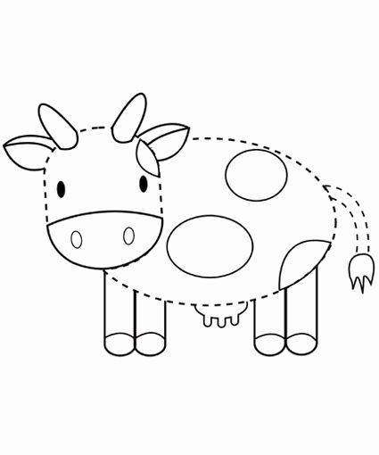 Cow Worksheets for Preschoolers Printable Cow Tracing Printables for Children