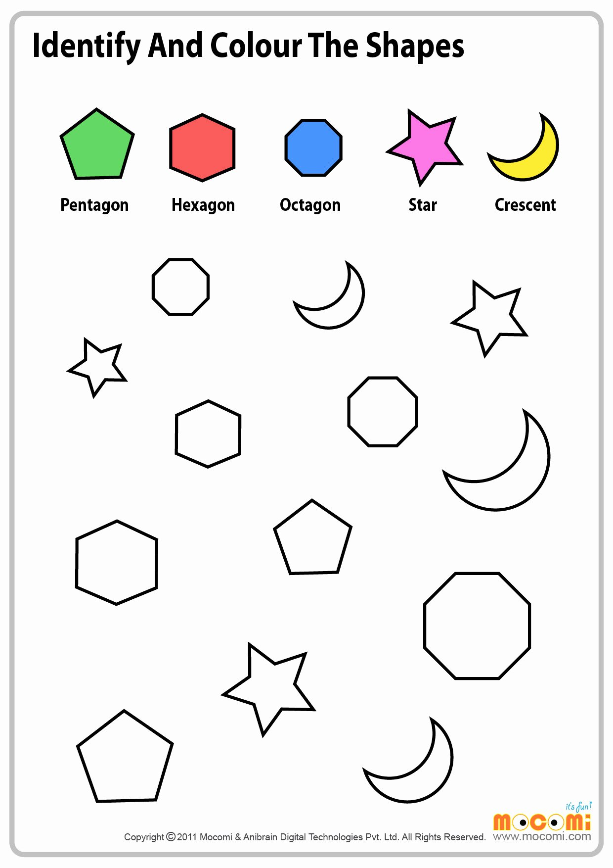 Crescent Shape Worksheets for Preschoolers Fresh Colour Similar Shapes Maths Worksheet for Kids Mo I