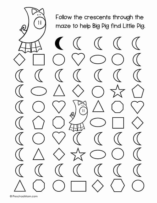 Crescent Shape Worksheets for Preschoolers Ideas Shapes Archives Preschool Mom
